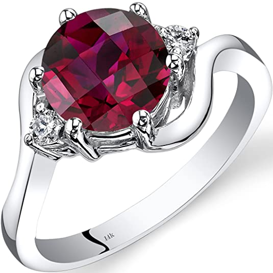 Revoni 14ct White Gold Created Ruby Diamond 3 Stone Ring 2.50 Carat
