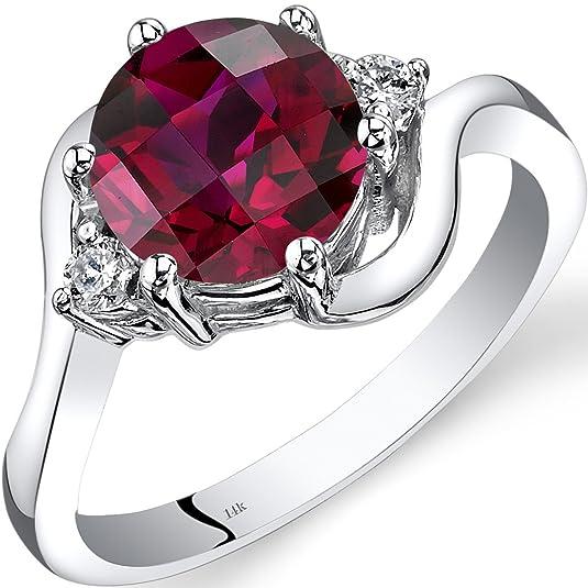Revoni 14ct White Gold Created Ruby Diamond 3 Stone Ring 2.50 Carat