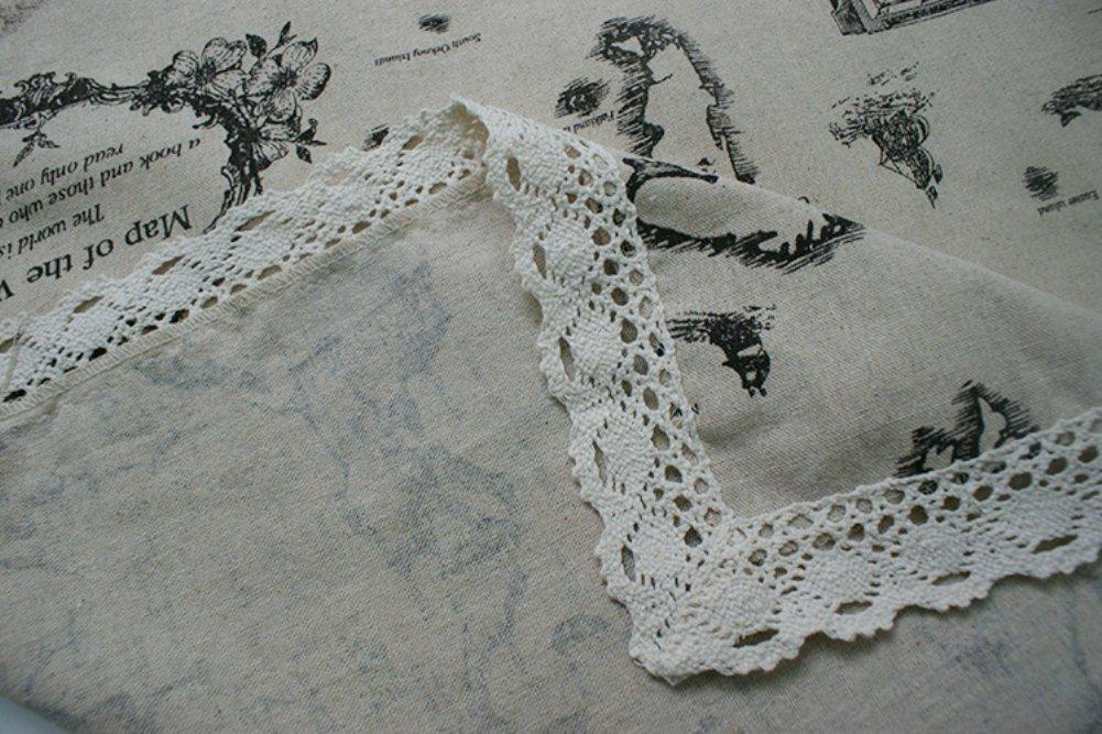 Kingmerlina Cotton Linen Rectangle Map Print Vintage Tablecloth Multi Size 4