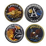 SOUTHYU 4 Pack NASA Space Apollo 11/13/17 Space Shuttle Mission Tactical Morale Patches Military Emblem Embroidered Badge, Hook and Loop Patch (Color: 4 pieces NASA Apollo)