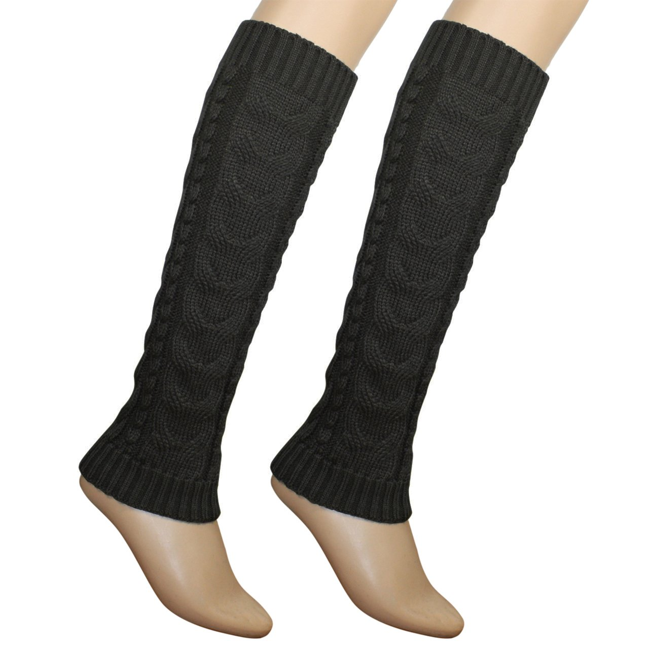 Triple Pompons Classic Boot Shaft Style Ribbed Knit Soft Acrylic Leg Warmer - Brown