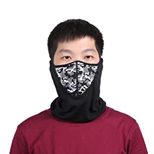 Winter Face Scarf Mask Thermal Fleece Neck Warmer for Skiing Motorcycle Cycling Bike Hiking Skateboard (Grey) (Color: Grey)