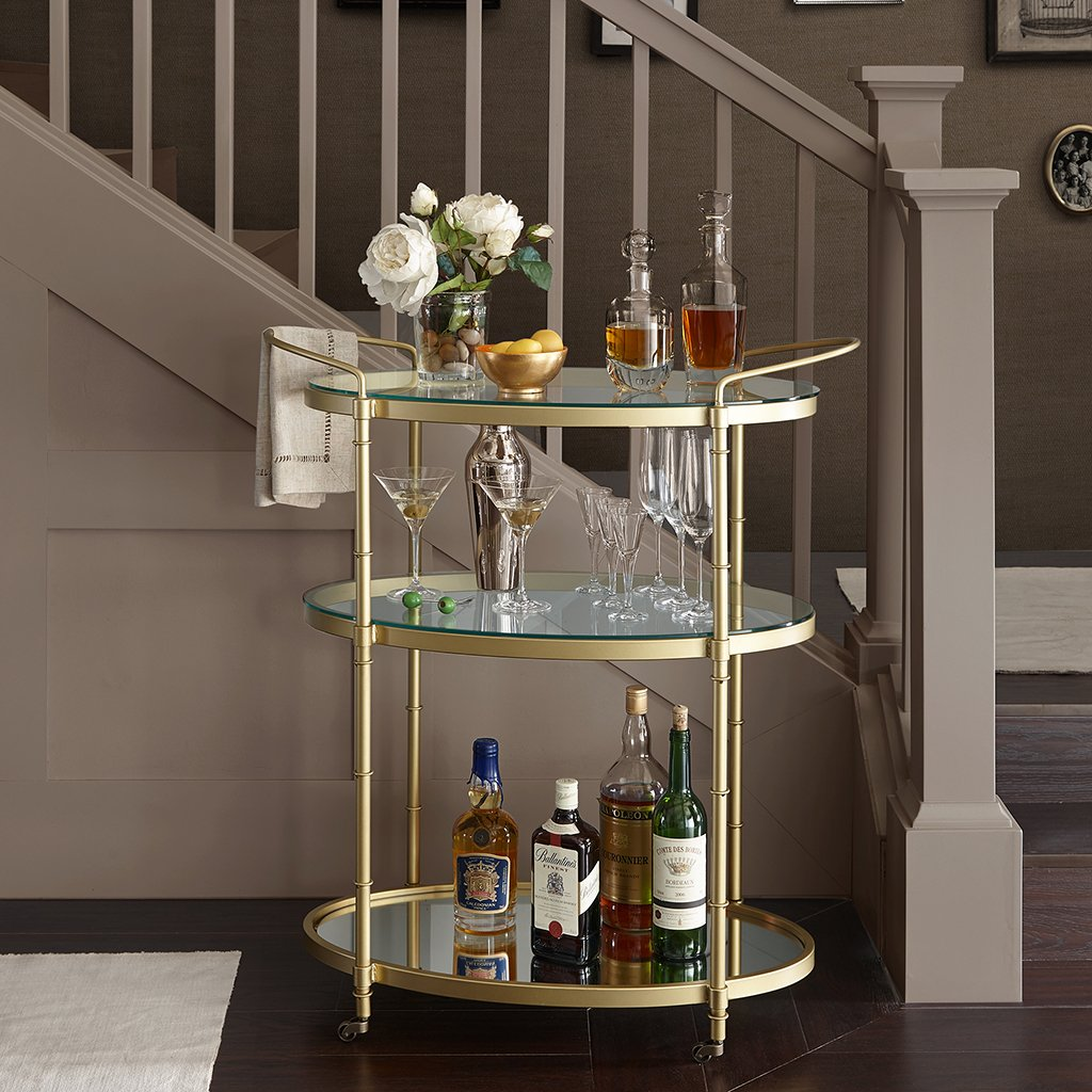 Madison Park Signature Lauren Bar Cart Antique Gold See below 0