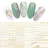 LEMOOC Gold 3D Nail Sticker Valentine's Day Decoration Lines Multi-size Strip Geometric Heart Nail Art Adhesive Transfer Stickers (Color: Gold 3D Sticker)