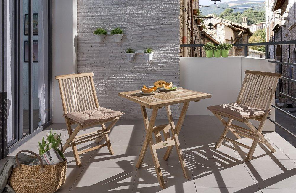 SAM® Teak-Holz Balkongruppe, Gartengruppe, Gartenmöbel 3tlg. Samo, bestehend aus 1 x Tisch + 2 x Klappstuhl, zusammenklappbar, ideal für Balkon und Garten jetzt bestellen