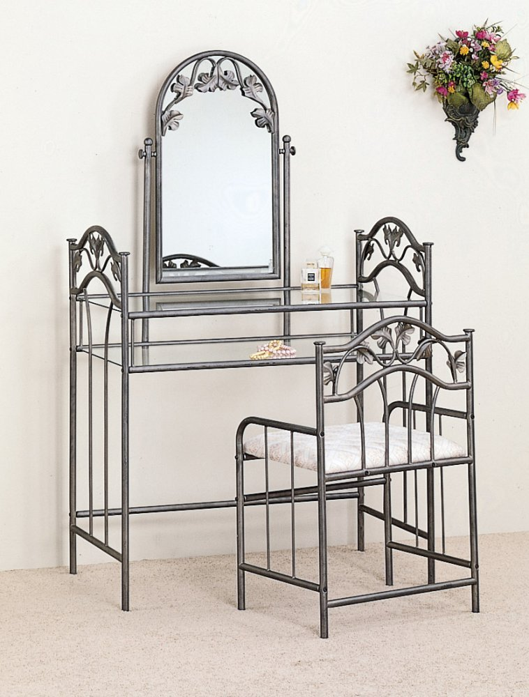 Metal Vanity Table Set Is Not A Traditional Element Of Girly Type Of  Bedroom Furniture And Is Not Totally Made Of Metal But Features Metal  Framework, ...