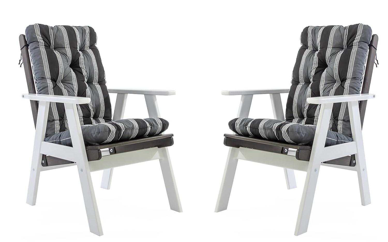 Ambientehome Gartensessel verstellbarer Sessel Stuhl Gartenstuhl Massivholz Hochlehner inkl. Kissen VARBERG, Weiß/Taupegrau, 2-teiliges Set günstig bestellen