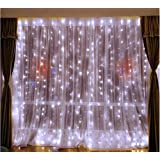 DLPIN 304LED Linkable Window Curtain Lights Wedding Lights Fariy UL Safe Fuse 8 Mode Saving Settings 9.8ft - White