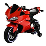 Uenjoy 12V Kids Motorcycle Battery Powered Ride On Motorbike with 2 Speeds, Spring Suspension, LED Lights, Leather Seat , Red (Color: Red)