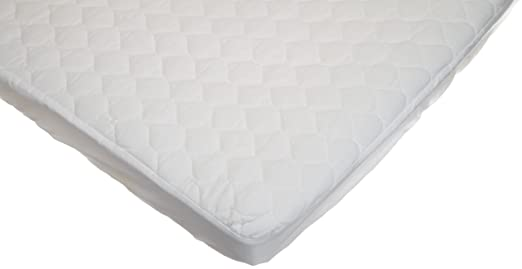 American Baby Company Waterproof Quilted Cotton Portable/Mini Crib Mattress Pad Cover, White
