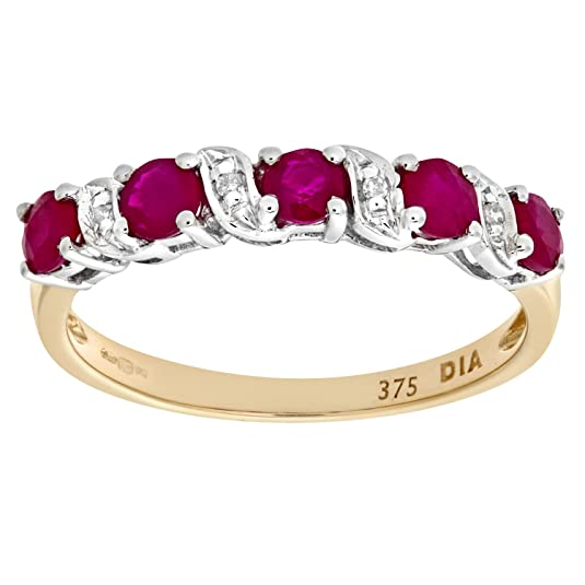Naava 9ct Yellow Gold Ruby And Diamond Eternity Ring