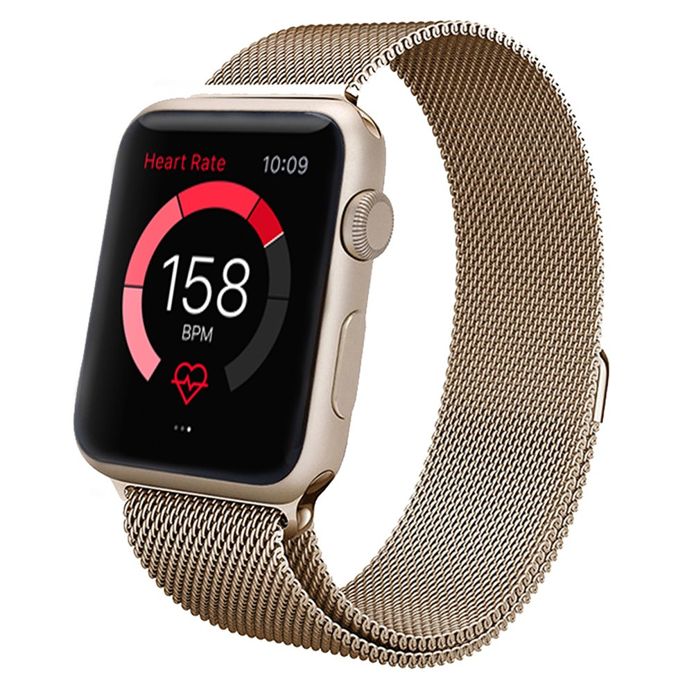 Apple Watch Band,Teslasz® 38mm Mesh Replacement Strap Stainless Steel Milanese Loop Strap Magnetic Buckle Wrist Band for Apple iWatch All Models (Champane Gold 38 MM)