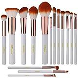 BS-MALL(TM) Premium Synthetic Kabuki Makeup Brush Set Cosmetics Foundation Blending Blush Eyeliner Face Powder Brush Makeup Brush Kit (15pcs, White Rose)