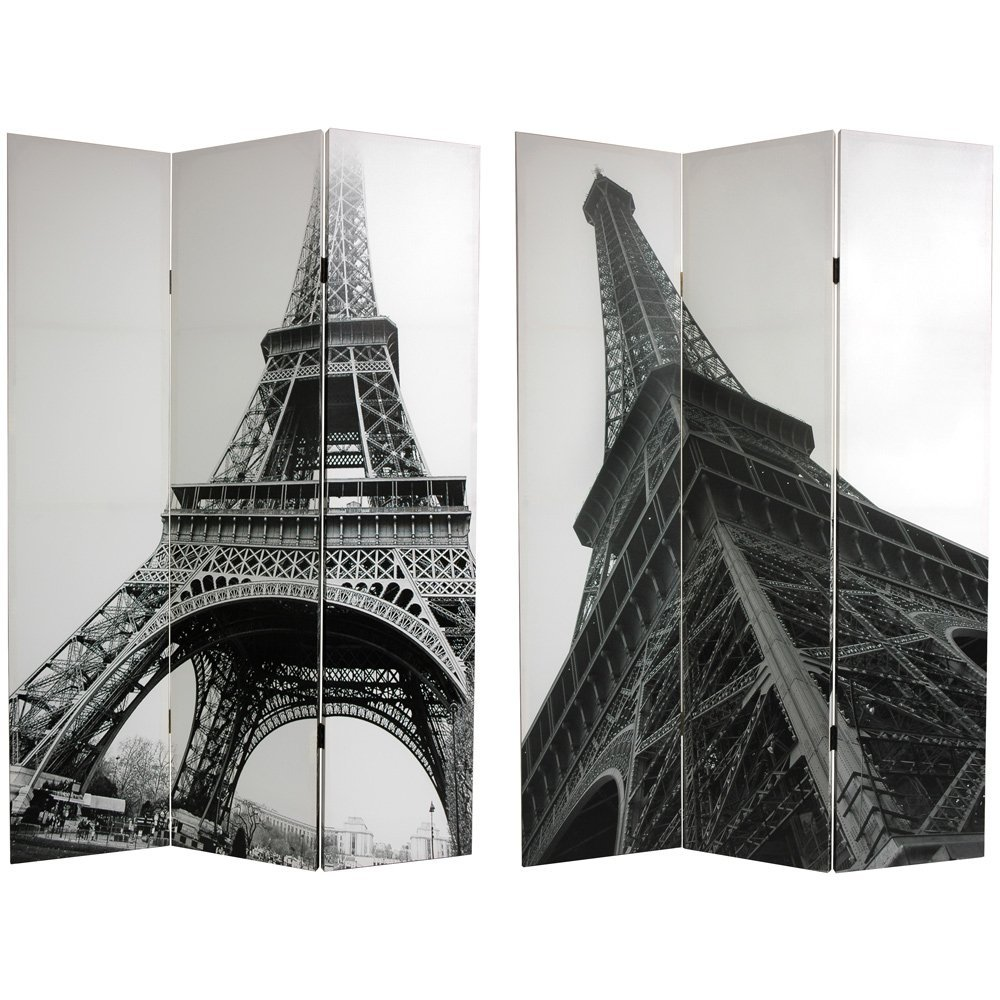 Oriental Furniture Unique Bold Urban Art Paris Skyline Print Room Divider, 6-Feet Eiffel Tower Printed Photo Folding Privacy Floor Screen blue bar chairs furniture shop ktv music art museum teaching stools free shipping furniture retail wholesale household chair