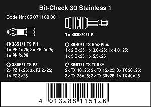 Wera BC Stainless 30 Bit-Check Set, 30-Pieces