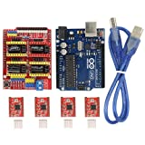 Witbot CNC Shield Expansion Board V3.0 +UNO R3 Board for Arduino+ A4988 Stepper Motor Driver With Heatsink Kits for Arduino
