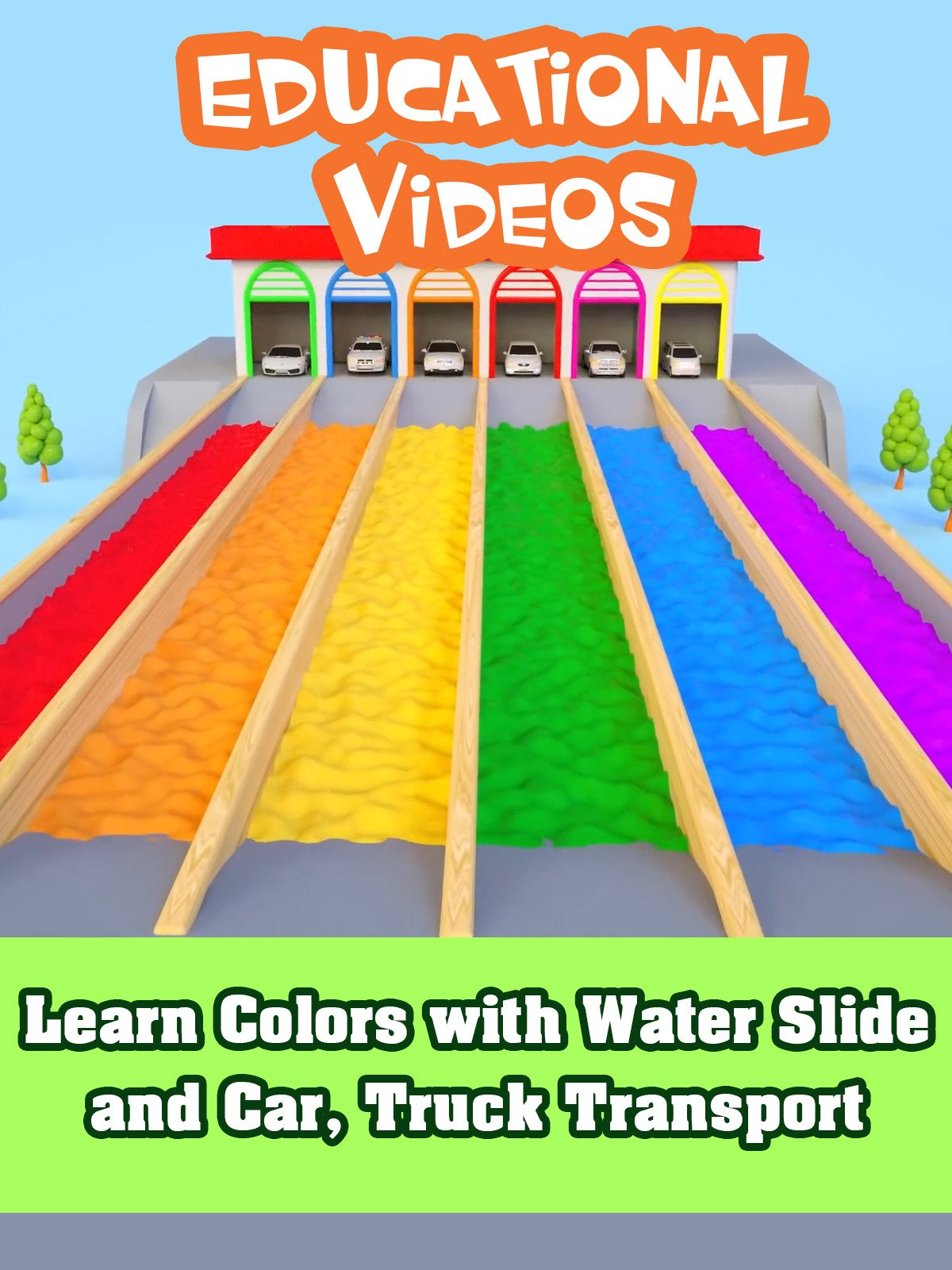 Learn Colors with Water Slide and Car, Truck Transport