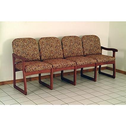 Solid Wood 4-Seat Upholstered Sofa w Medium Oak Finish (Rose Watercolor)