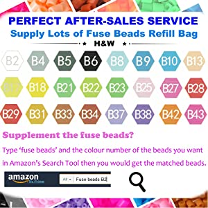 H&W 24 Colors 5mm Fuse Bead Set Compatible Kids, Add Color Number & Supply Refill Bag, 2 Tweezers, 2 Big Peg Boards, 5 Ironing Paper, Parts(WA1-Z1) (Color: 24 Colors, Tamaño: 5 mm)