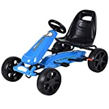 Costzon Go Kart, 4 Wheel Powered Racer Outdoor Toy, Kids Ride On Pedal Car (Blue) (Color: Blue, Tamaño: 39.4