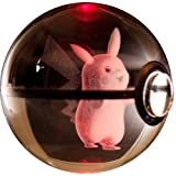 Hasp Clear Crystal 3D Pokemon Go Inspired Engraved Lasermarked Pokeball Pikachu