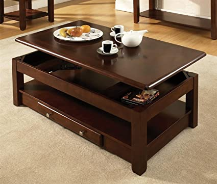 Steve Silver Nelson Rectangular Lift-Top Cherry or Oak Coffee Table with Casters - Cherry