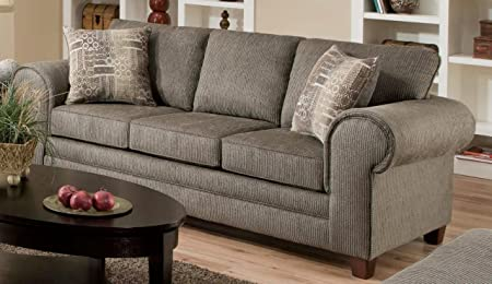 Chelsea Home Furniture Camden Sofa, Romance Graphite/Channing Taupe Pillows (2)