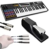 M-Audio Code 49 Black | 49-Key USB MIDI Keyboard Controller with X/Y Touch Pad (16 Drum Pads/9 Faders/8 Encoders) + Universal Pedal + Pro MIDI Cable + Label Kit - Top Value M-audio Accessory Kit!!
