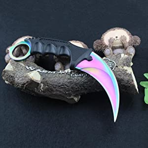 Stainless Steel Camping Hunting Knife Tactical Knife Karambit --Fixed Blade --With Rope (mutil color) (Color: RB-2)