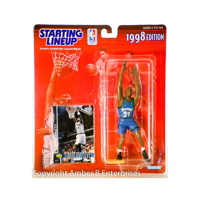 1998   Kenner   Starting Lineup   NBA   Kevin Garnett #21   Minnesota Timberwolves   Vintage Action Figure   w/ Upper Deck Trading Card   Limited Edition   Collectible