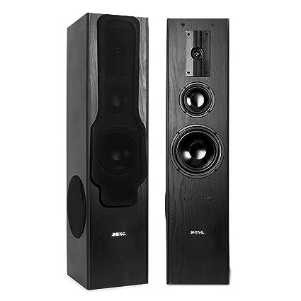 Beng Pack d'enceintes colonnes 3 voies / haut-parleurs hifi stereo avec bassreflex et sidefiring subwoofer (880W, 20 Hz - 20 kHz) - noir