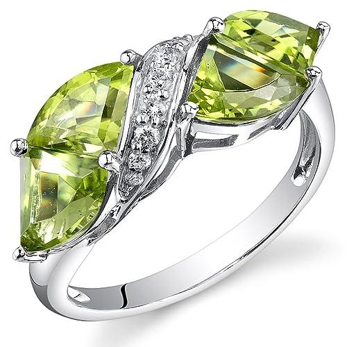14-Karat-White-Gold-Tri-Fan-Cut-3-95-carats-Peridot-Diamond-Ring