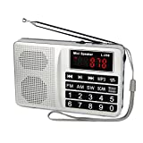 TIVDIO L-258 Portable AM FM Radio Shortwave Transistor Digital Display Support Micro-SD Card USB Driver AUX Input MP3 Player Speaker Rechargeable Li-ion Battery(Silver) (Color: Silver)