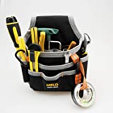 Melo Tough Technician/maintenance and Electrician's Small Tool Pouch with Multiple Pockets, Tool Organizer for Tools, Flashlights, Keys Fastened at the waist Easily (Color: Black and Grey, Tamaño: 2'')