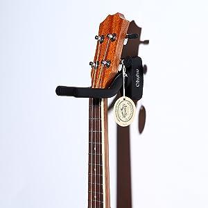 Ohuhu Guitar Hanger 2-Pack Hook Wall Mount Guitar Stand Keeper Holder For Acoustic Electric Guitars (Color: Black)
