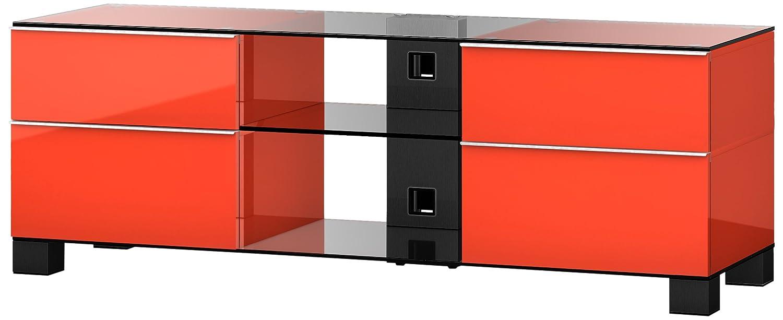 Sonorous MD 9340-B-HBLK-RED Fernseher-Möbel mit Schwarzglas (Aluminium Hochglanz, Korpus Hochglanzdekor) rot/schwarz