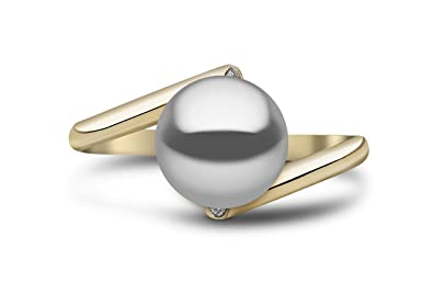 Kimura Pearls 9ct Yellow Gold Grey Freshwater Pearl and Diamond Ring - Size P RN0044-201GP