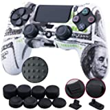9CDeer 1 Piece of Silicone Studded Water Transfer Protective Sleeve Case Cover Skin + 8 Thumb Grips Analog Caps + 2 dust proof plugs for PS4/Slim/Pro Dualshock 4 Controller, US Dollar (Color: US Dollar, Tamaño: printing)