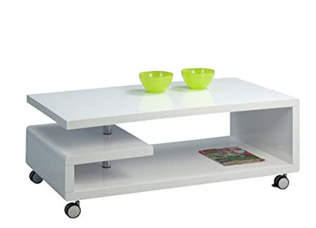 HomeTrends4You 168050 mesa de centro, 115 x 42 x 60 cm, blanco brillante