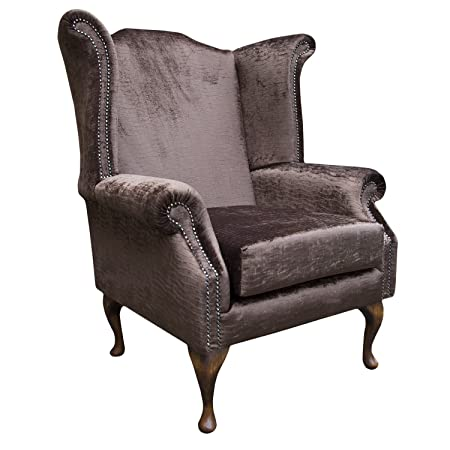 Armchair in a Conker Brown Fantasia Rippled chenille fabric