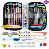 Crochet Hooks, DIY Craft Yarn Mixed Aluminum Handle Knitting Needles Sewing Weave Set Full Kit Tools with Gauge Rule Scissors Stitch Holders (Purple)