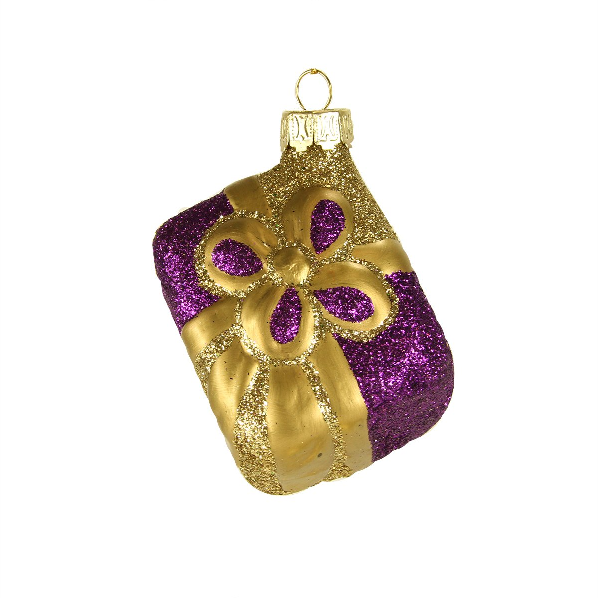 Gold and Purple Glass Present