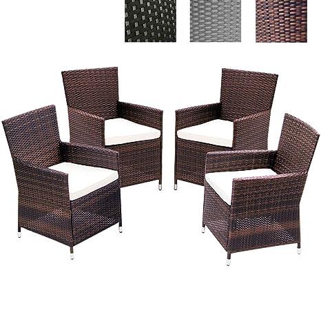 Miadomodo - Juego de 4 sillones de jardín de poliratán marrón