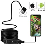 CLY USB Endoscope Waterproof Borescope Type-C Snake Inspection Camera 2.0 MP with 8 Adjustable LED Lights for Android Phone Tablet Device PC Laptop (Black) (Color: Black)
