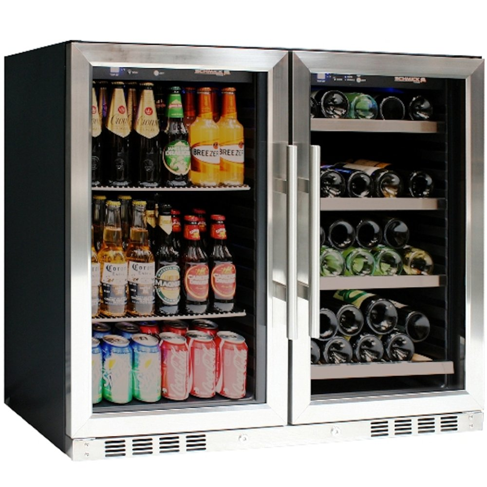 Compact Glass Door Combo Beverage Refrigerator Cooler