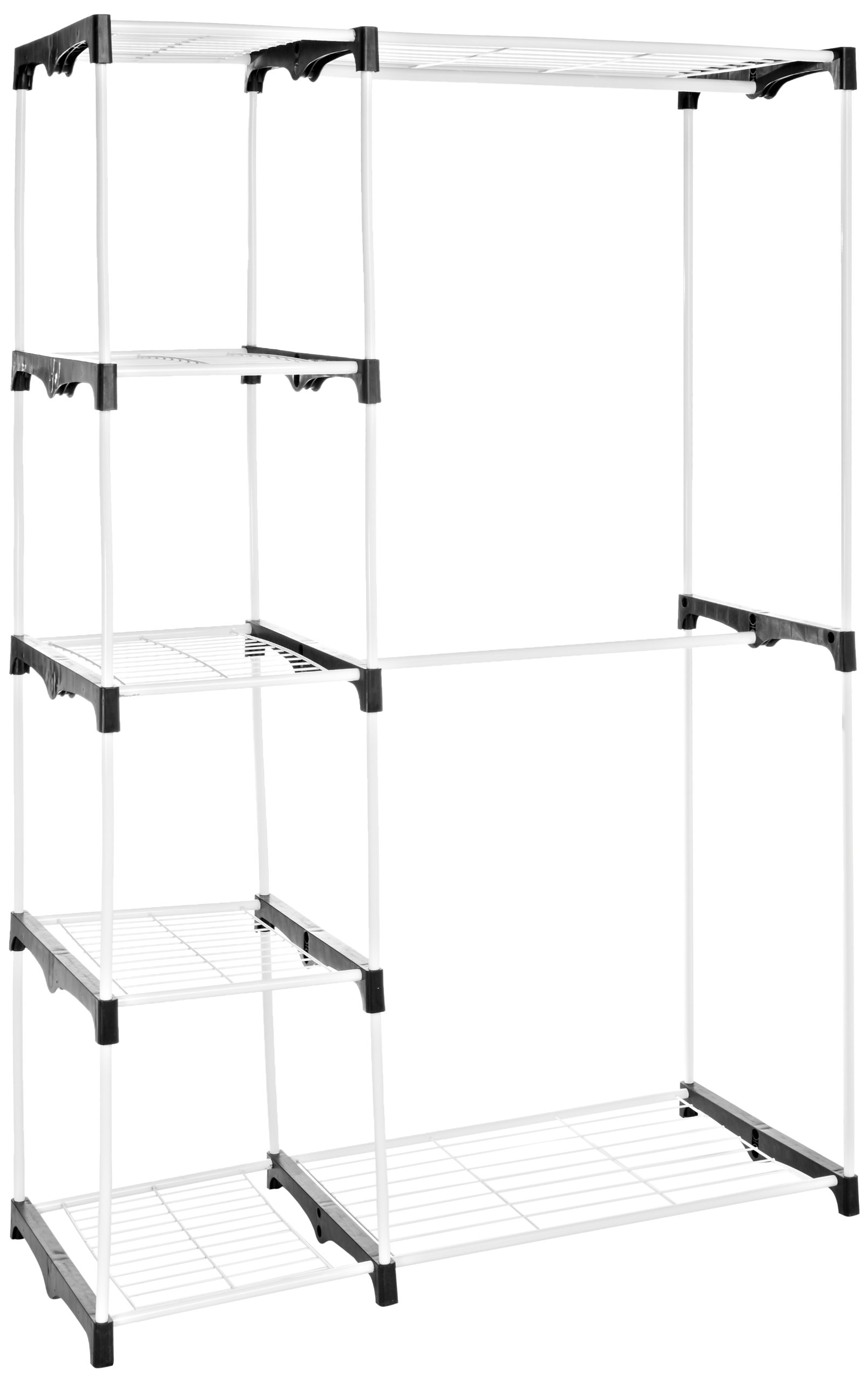 amazonbasics double clothes rail wardrobe white ebay. Black Bedroom Furniture Sets. Home Design Ideas