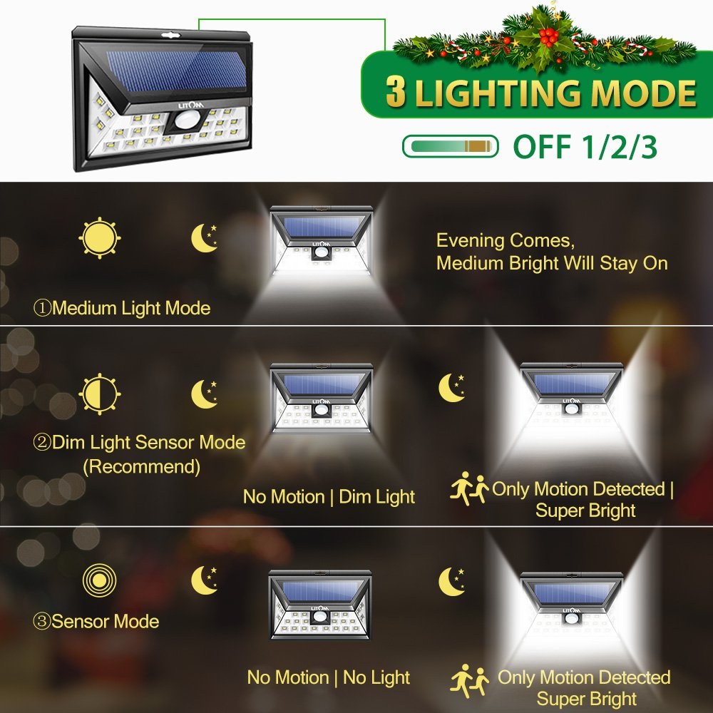 Litom 24 LED SOLAR LIGHTS OUTDOOR, Super Bright Motion Sensor Lights with Wide Angle Illumination, Wireless Waterproof Security Lights for Wall, Driveway, Patio, Yard, Garden- 2 PACK
