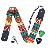 Ukulele Strap Jacquard Weave Hawaii Style Adjustable Shoulder Strap Soft Nylon with Genuine Leather Ends 3 Free Guitar Picks (Bohemian DS22) (Color: Bohemian)