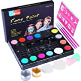 Face Paint Kit for Kids, Semai 14 Colors Professional Face Painting Kits Washable Non-Toxic Face & Body Paint with Stencils, Great for Theme Birthday Party, Family Gathering, Halloween Makeup, Face P (Color: B)