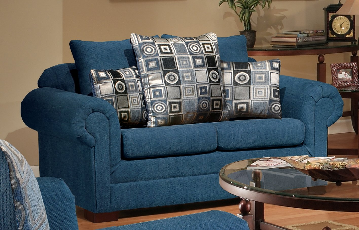 Chelsea Home Furniture Marsha Loveseat - Upholstered in Tahoe Navy/Boomerang Navy